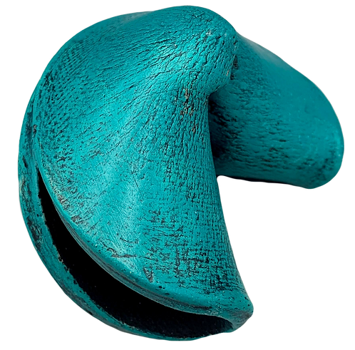 Turquoise Smooth Fortune Cookie by JoAnne Bedient