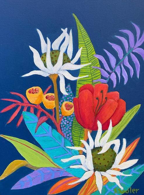 """""""EVENING BLOOM"""" an original acrylic by Susan Sadler"""