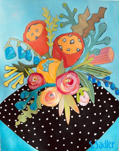 """AUGUST BLOOM"" an original acrylic created by Susan Sadler"