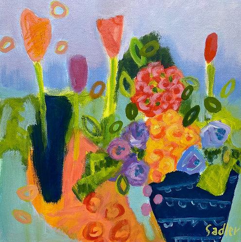 """MINI BLOOM'' original acrylic 12x12 Square Foot Show by Susan Sadler"