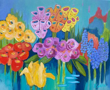 """FLOWER BODEGA"" an original acrylic by Susan Sadler"