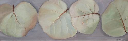 Marti Koehler coastal painting organic Four Seagrape Leaves Acrylic Canvas