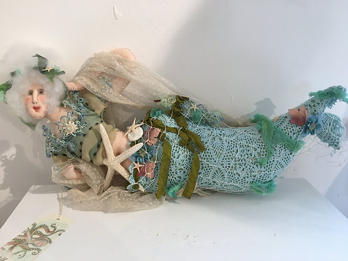 ROSY THE MERMAID one of a kind fiber art doll by Katie Gardenia