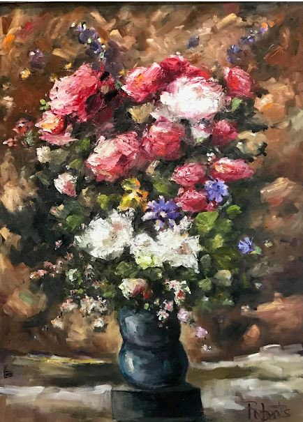 """""""Touch of Elegance"""" 46x36 Framed Canvas Original Oil by Joan Roberts"""