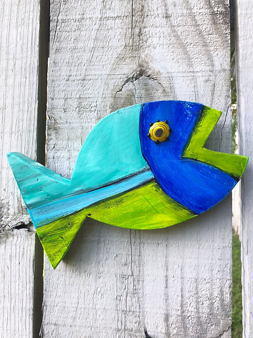 "Baby Fish ""Cruze"" by Kelly Morrison, mixed media acrylic on wood"