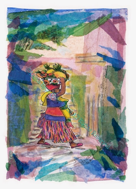 """MIZ PINK SLIPPERS GOES TO MARKET"" Fine Art Print by Lalita Lyon Cofer"