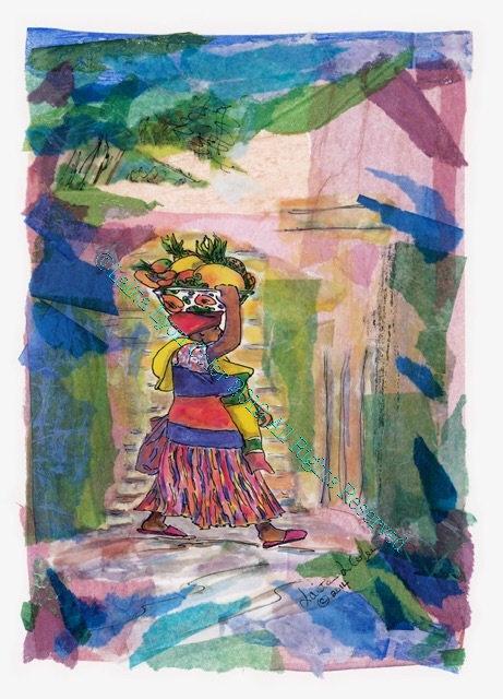"""MIZ PINK SLIPPERS GOES TO MARKET"" Original painting by Lalita Lyon Cofer"