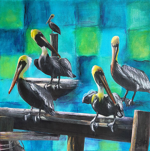 """Patchwork Pelicans"" Mixed-Media by Sally Dutko for the ""Square Foot Show"""