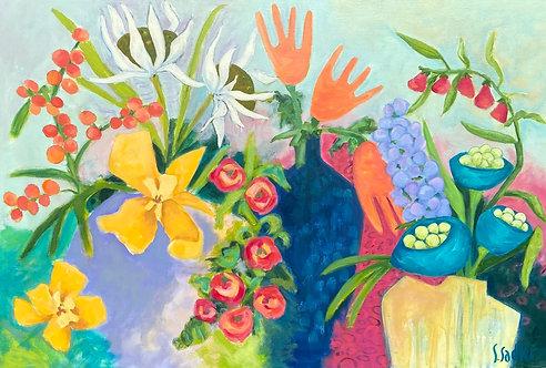 """HANNAH'S GARDEN"" an original acrylic by Susan Sadler"