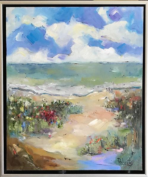 """Illusive Beach"" 24x20Original Oil by artist Joan Roberts"