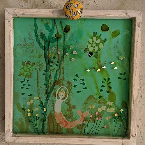 """""""LuLu and the Turtles"""" 3-d Mermaid Under the Sea Mermaid Diorama by Sarah Kiser"""