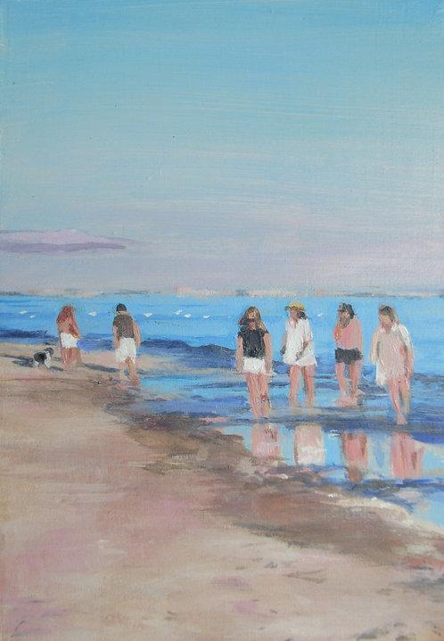"Marti Koehler Sanibel Sun 7X5"" Acrylic Painting on Wood, coastal beach Florida"