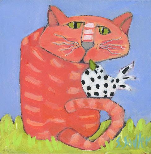 'UNEXPECTED GUEST'' original acrylic by Susan Sadler