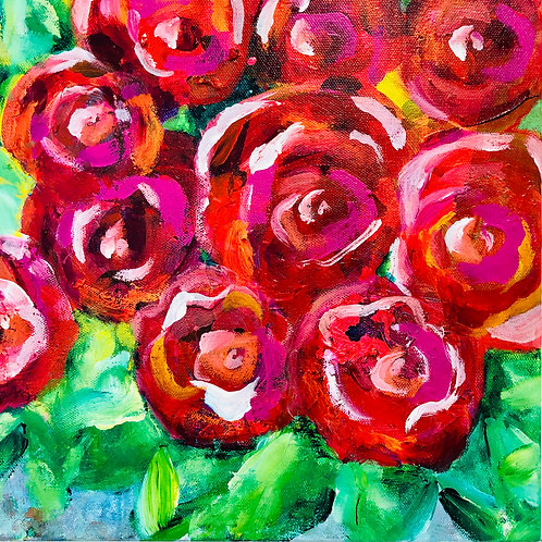 """""""Red Roses"""" Acrylic on canvas by Kelly Morrison"""