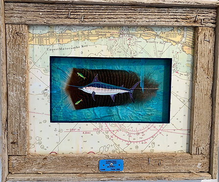 "Anne Schroeder ""Marlin & Mahi"" feather painting"