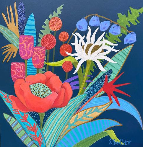 """HAPPY BLOOMS"" an original acrylic by Susan Sadler"