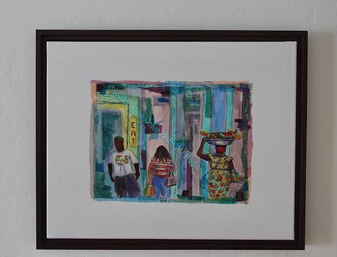 MARKET DAY HUSTLE AND BUSTLE Fine Art Print by Lalita Lyon Cofer