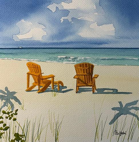 Beach scene 12x12 - original watercolor Square Foot Show by Shah Hadjebi