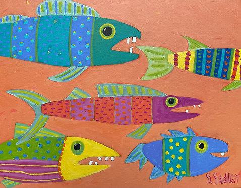 """FISH SCHOOL"" an original acrylic by Susan Sadler"