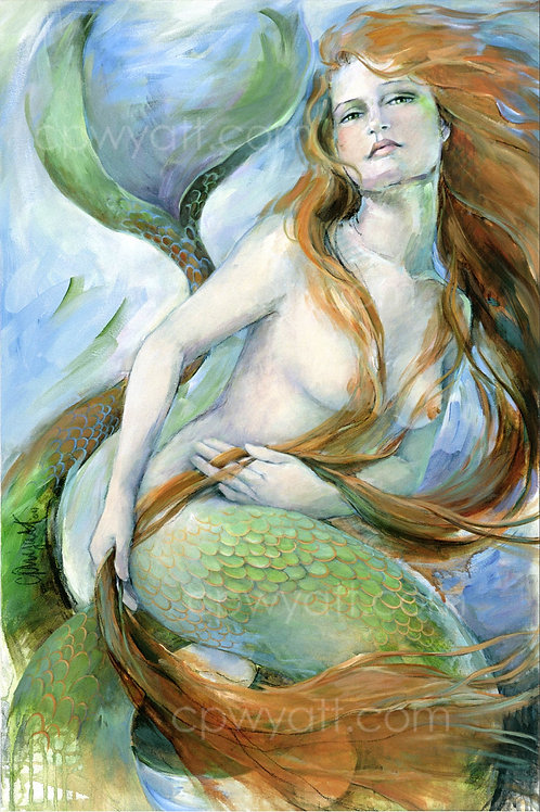 """WATER DANCE""  SIGNED PRINTS -Mermaid- by Artist Christina P. Wyatt"
