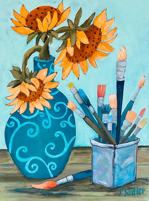 """""""A Day in the Studio"""" original acrylic created by Susan Sadler"""