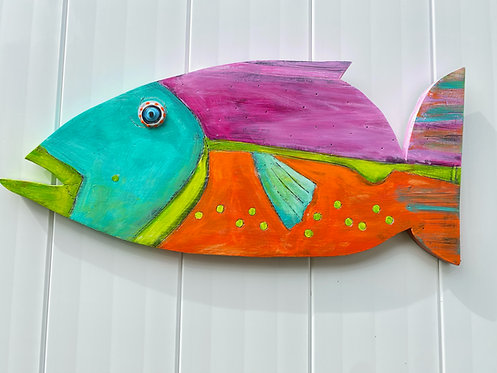 "Painted Wooden Fish ""Madeline"" Kelly Morrison mixed media acrylic on wood"