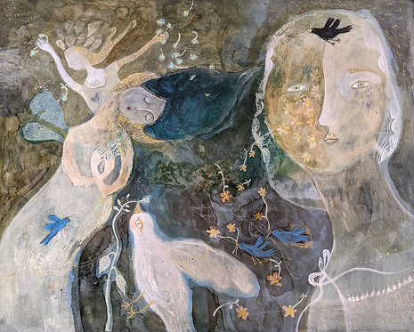 """Nightingale"" 16x20 Original Mixed Media Painting panel Sarah Kiser"