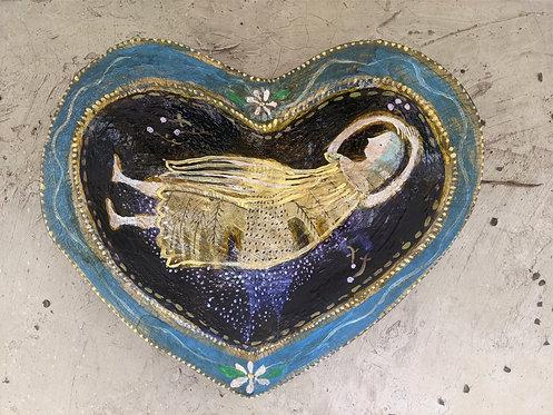 """Forget Me Not"" Heart Shaped Original Painting on Wood Sarah Kiser"