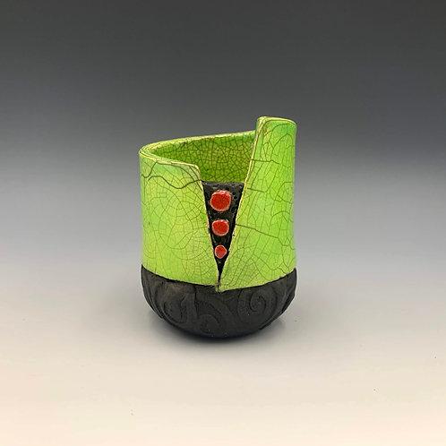 """Little Green Pot with Dots"" a small raku fired ceramic pot by JoAnne Bedient"