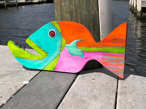 """Painted Wooden Fish """"Sydney"""" by Kelly Morrison mixed media acrylic on wood"""