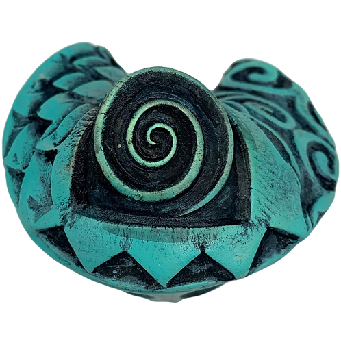 Turquoise Patterned Fortune Cookie by JoAnne Bedient