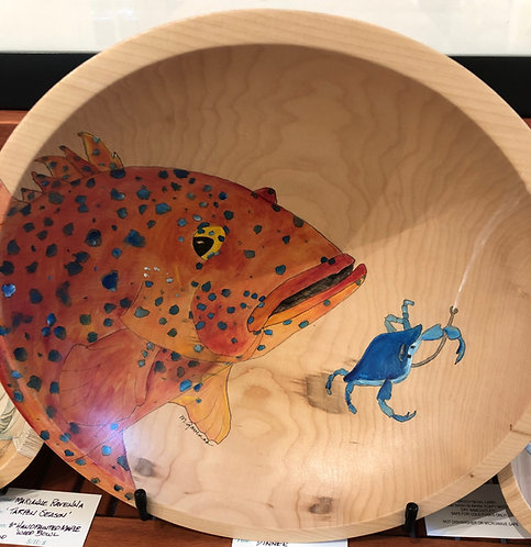 """Grouper with Blue Crab"" Original Maple Wood Bowl by Artist Marianne Ravenna"