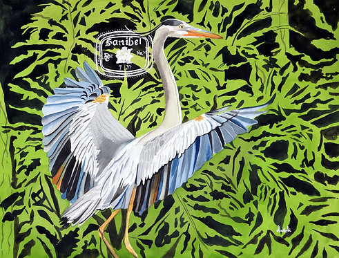 Blue Heron and Foliage V2 - Artist Shah Hadjebi 18x24 original watercolor