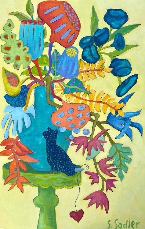 """""""Floral Medley"""" an original 24x36 acrylic on canvas. Created by Susan Sadler"""