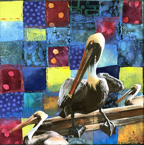 """""""Patchwork Pelicans II"""" Fiber collage by Sally Dutko for the Square Foot Show"""