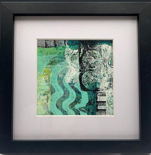 """Beach Life 2"" an acrylic monoprint by artist JoAnne Bedient"