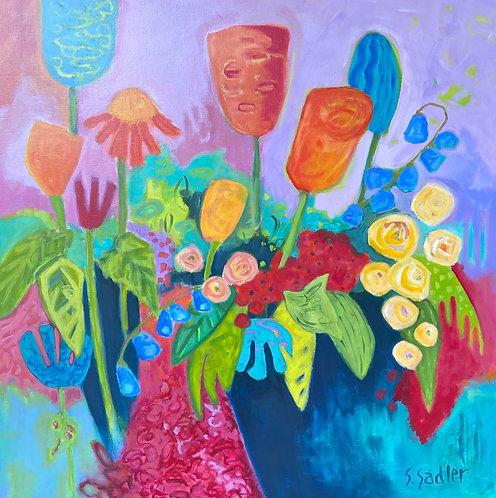 """FARMERS MARKET"" an original acrylic by Susan Sadler"