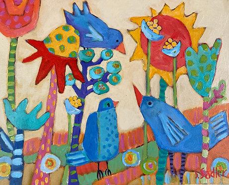"""""""FANTASY GARDEN"""" original acrylic $145 by Susan Sadler"""