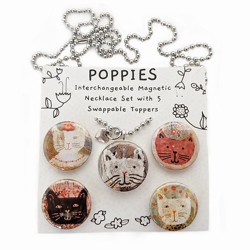 Peachy Keen Cats Interchangeable Magnetic Necklace Set by Sarah Kiser