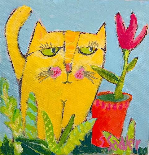 GARDEN KITTY original by Susan Sadler
