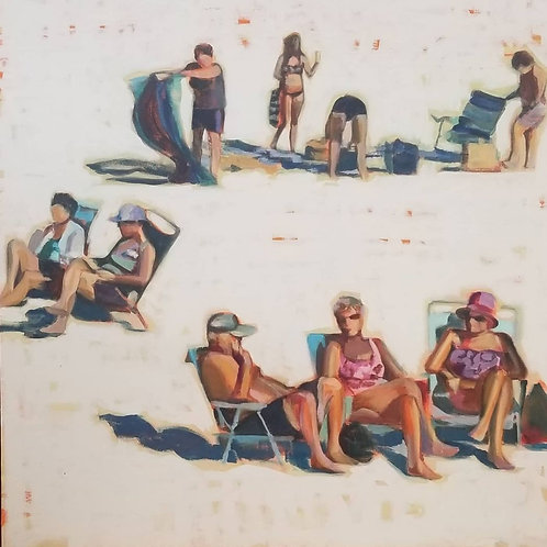 "36"" x 36"" Acrylic Painting on Canvas, Marti Koehler, Beach Daze"