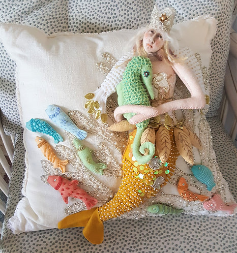 QUEEN OF THE SEA one of a kind fiber art pillow by Katie Gardenia