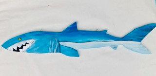 "Kelly Morrison ""Mark the Shark"" Acrylic on wood w/ lampwork bead & aluminum"