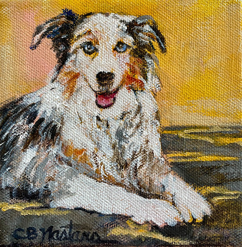 """HAPPY THOUGHTS is an original 5""""x5"""" painting by Carole Nastars"""