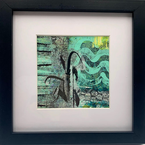 """Beach Life 3"" , an original acrylic monoprint by JoAnne Bedient"