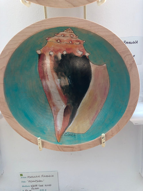 Marianne Ravenna Conch Original Hand Painted Maple Bowl