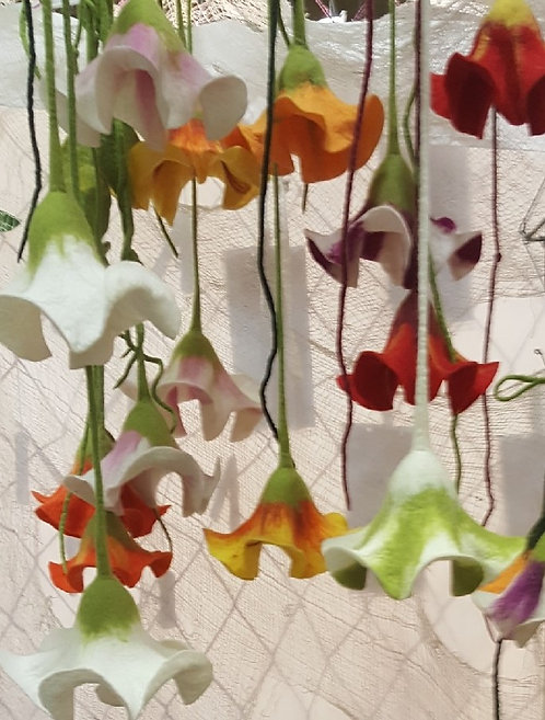Felted Angel Trumpet Flowers by Artist Katie Gardenia