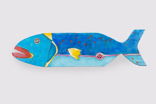 """Painted Wooden Fish """"Jackie Blu"""" by Kelly Morrison mixed media acrylic on wood"""