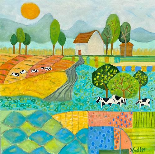 """On the Farm"" is an original acrylic 30x30 gallery wrapped canvas Susan Sadler"