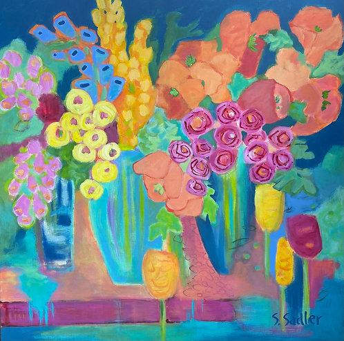 """""""POTTING BENCH"""" an original acrylic by Susan Sadler"""